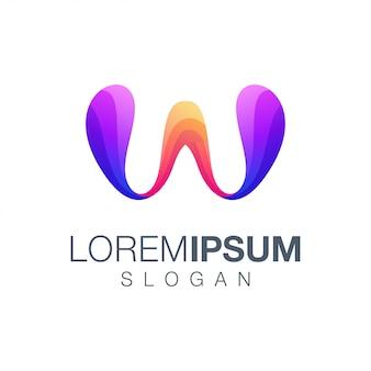 Modèle de logo couleur dégradé lettre w