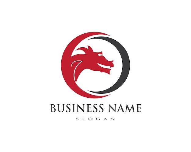 Modèle de logo couleur dragon plat