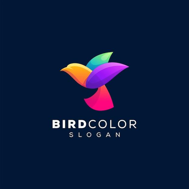 Modèle de logo de couleur oiseau dégradé