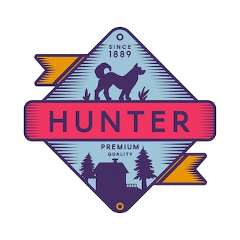 Modèle de logo couleur rétro hunter camp