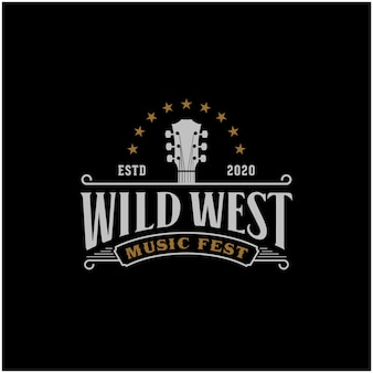 Modèle de logo country music western retro