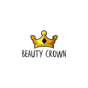 Modèle de logo de couronne de beauté