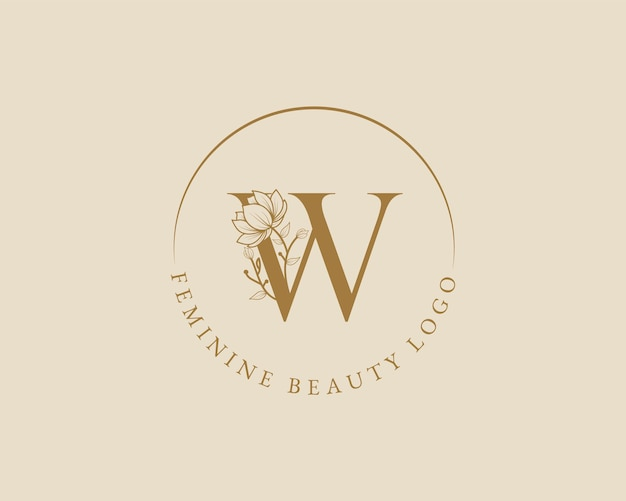 Modèle de logo de couronne de laurier initial botanique féminin w lettre pour carte de mariage de salon de beauté spa