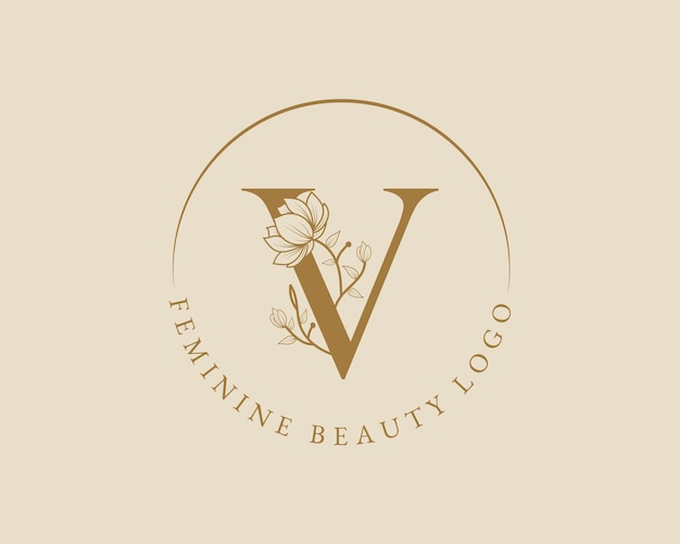 Modèle de logo de couronne de laurier initial de lettre v botanique féminine pour carte de mariage de salon de beauté spa