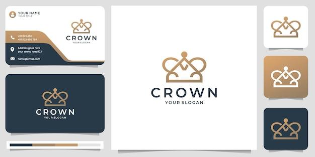 Modèle de logo couronne minimaliste. style de ligne créatif avec concept de point et conception de carte de visite.