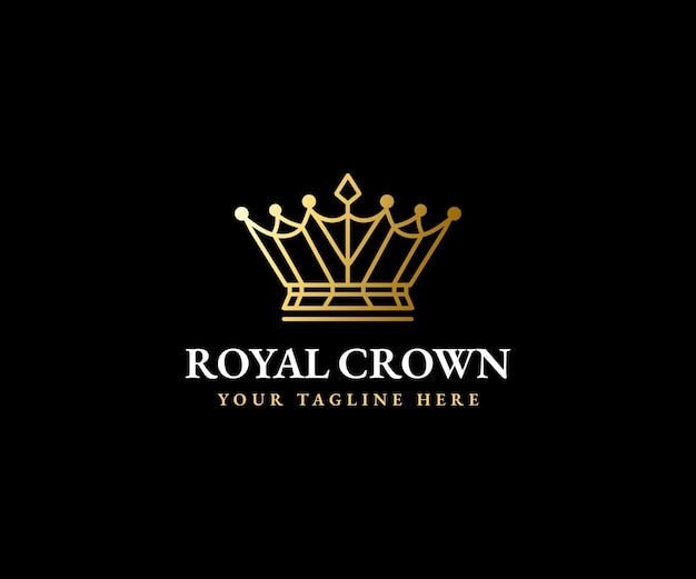 Modèle de logo couronne royale roi reine couronne majestueuse et silhouette de diadème de luxe pour les marques vip