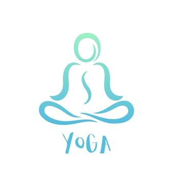 Modèle de logo de cours de yoga sur blanc, homme en position du lotus