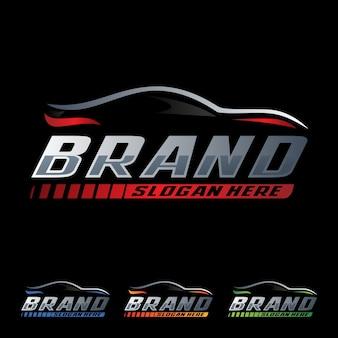 Modèle de logo de course de voiture de vitesse