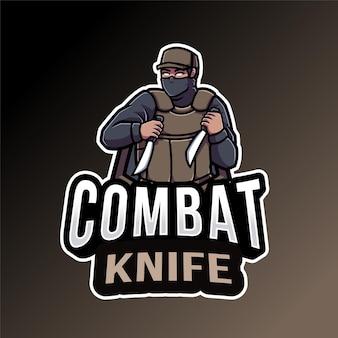 Modèle de logo de couteau de combat