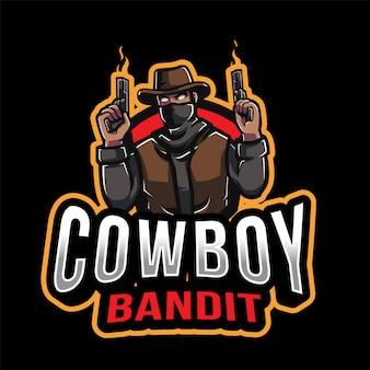 Modèle de logo cowboy bandit esport
