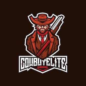 Modèle de logo cowboy elite esport