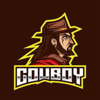Modèle de logo cowboy esport