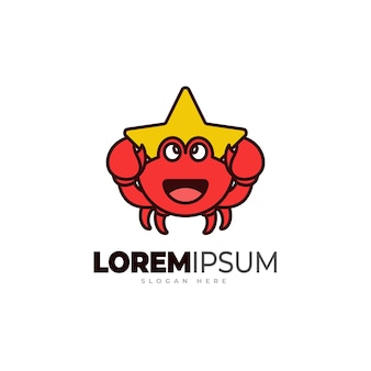 Modèle de logo de crabe étoilé