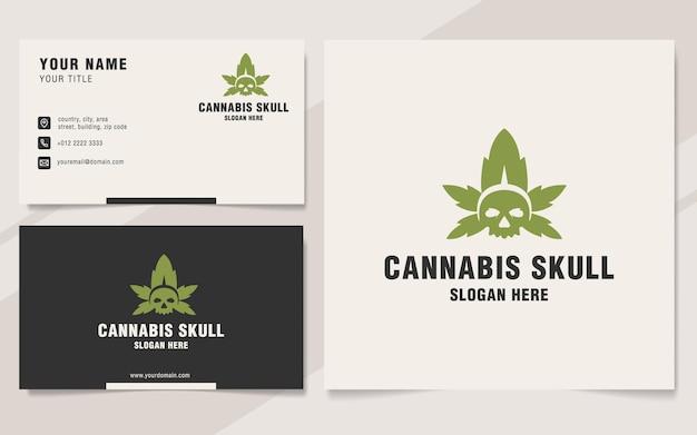Modèle de logo de crâne de cannabis sur le style monogramme