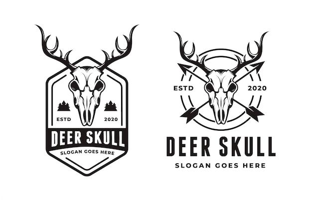 Modèle de logo de crâne de cerf rétro