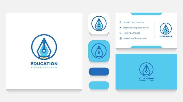 Modèle de logo de crayon d'éducation et carte de visite