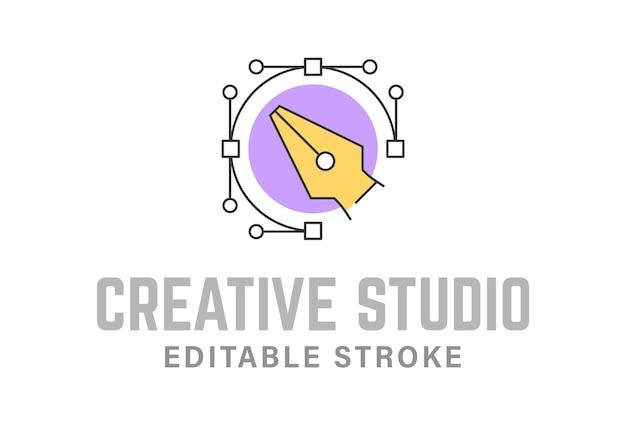 Modèle de logo créatif de contour d'outil de stylo