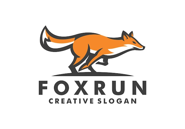 Modèle de logo créatif génial run fox