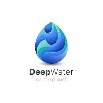Modèle de logo créatif goutte d'eau colorée
