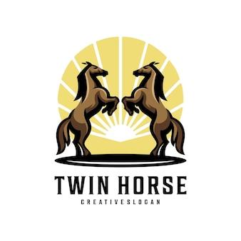 Modèle de logo créatif moderne sautant à cheval jumeau