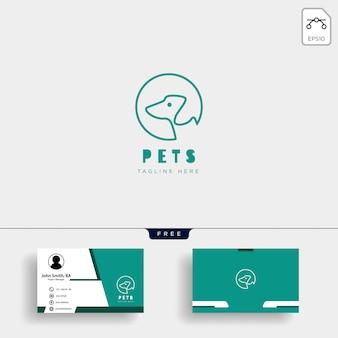 Modèle de logo créatif de soins pour animaux de compagnie chat avec carte de visite