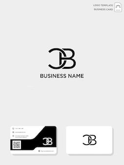 Modèle de logo de création initial cb ou bc et modèle de carte de visite