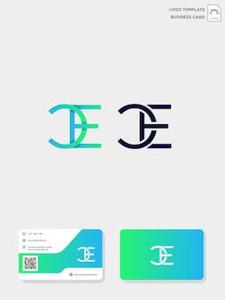 Modèle de logo de création initial ce ou ce et modèle de carte de visite