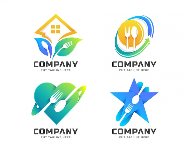 Modèle de logo creative fork