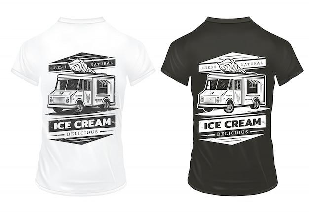 Modèle de logo de crème glacée vintage
