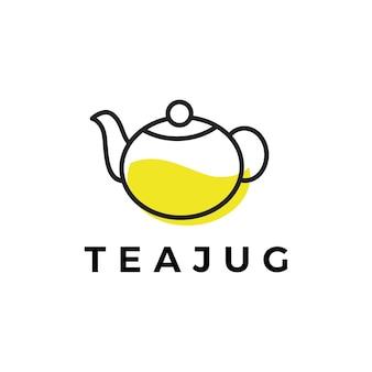 Modèle de logo de cruche de thé