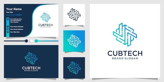 Modèle de logo de cube avec le concept de technologie d'art en ligne vecteur premium