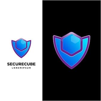 Modèle de logo de cube sécurisé