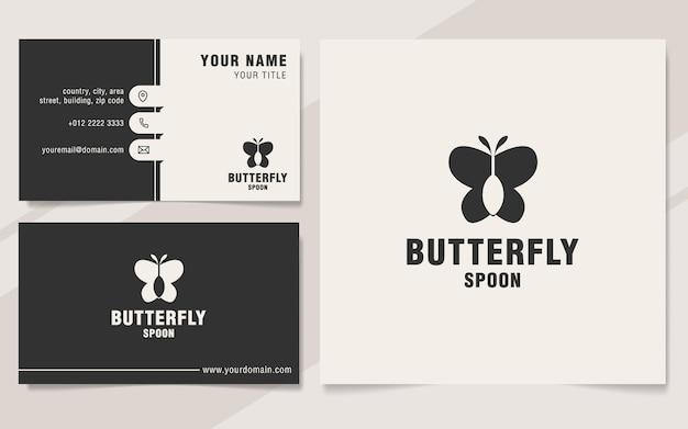 Modèle de logo de cuillère papillon sur le style monogramme