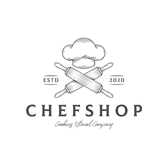 Modèle de logo de cuisine de chapeau de chef