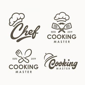 Modèle de logo de cuisine de chef