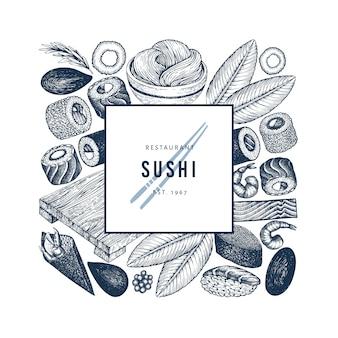 Modèle de logo de cuisine japonaise. illustrations vectorielles dessinés à la main de sushi. style rétro