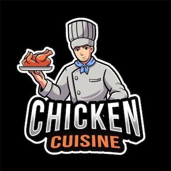 Modèle de logo de cuisine de poulet