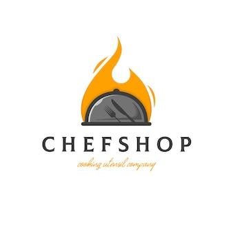 Modèle de logo de cuisine traditionnelle de chef
