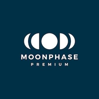 Modèle de logo de cycle de phase de lune