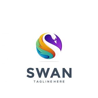 Modèle de logo cygne abstrait