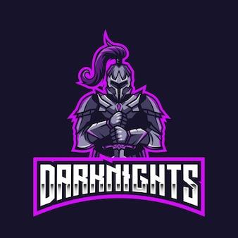 Modèle de logo dark knights esport