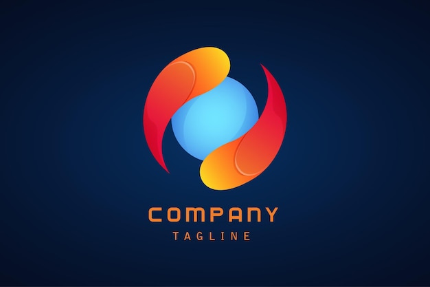 Modèle de logo dégradé abstrait cercle bleu jaune rouge