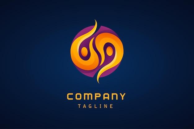 Modèle de logo dégradé abstrait orange violet yin yang