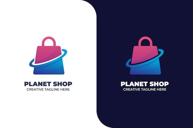Modèle de logo de dégradé d'achats en ligne