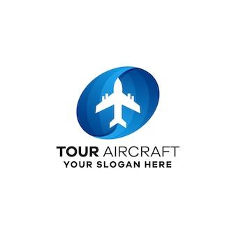 Modèle de logo de dégradé d'avion