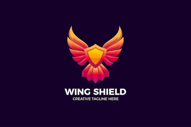 Modèle de logo dégradé de bouclier d'aile