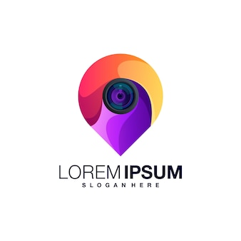 Modèle de logo dégradé de caméra de localisation