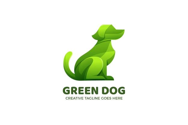 Modèle de logo dégradé de chien vert
