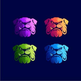 Modèle de logo dégradé de chien