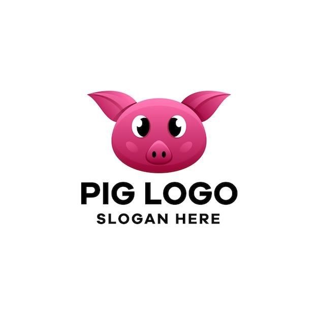 Modèle de logo de dégradé de cochon
